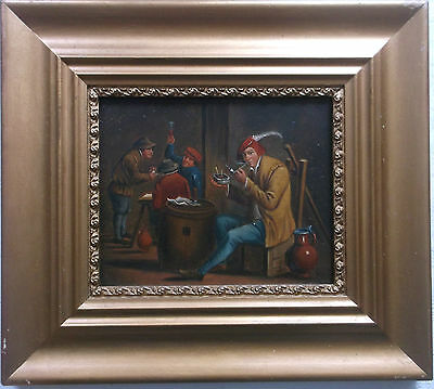 FRAMED OIL ON METAL PANEL PAINTING circa 1890 A STUDY OF A TAVERN SCENE