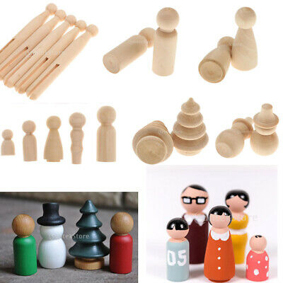 Natural Wooden People Peg Dolls Clothes Pin DIY Craft for Children Waldorf Toys