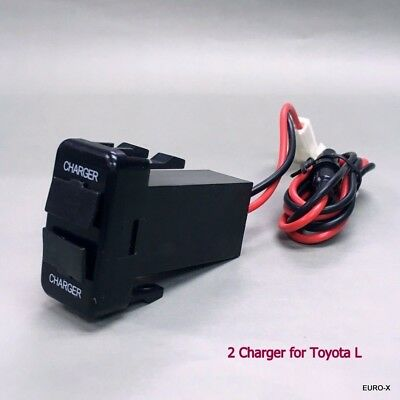 NEW Dual USB Built-in Dash Charger DC12V Max Output 3A/5V for TOYOTA L Car #Mgtc