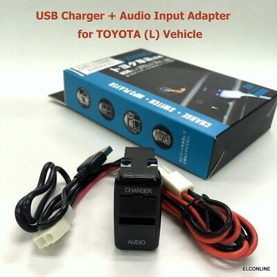 Built-in Dashboard USB Charger + Audio Input Connector for TOYOTA L Car #Mgtc