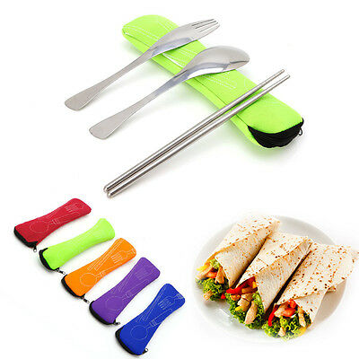 Travel Stainless Fork Spoon Steel Chopstick Cutlery Portable Camping Bag Picnic