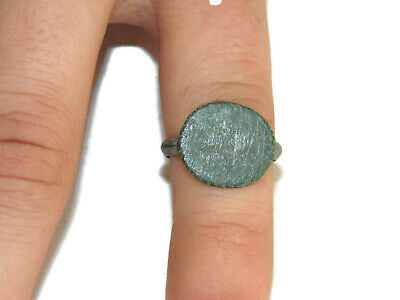 Ancient Medieval Antique Brass Bronze Signet Roman Ring Size 5.5 Christmas