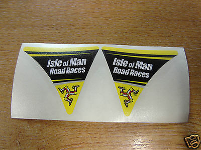 Isle of Man Road Races - TT Visor Corner Decal Sticker - YELLOW