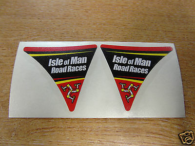Isle of Man Road Races - TT Visor Corner Decal Sticker - RED