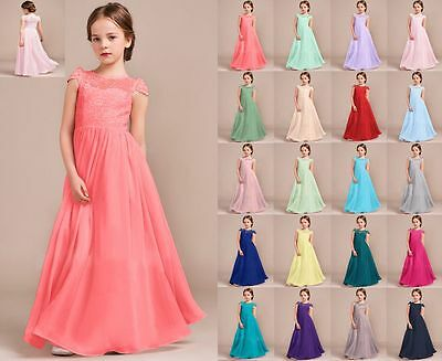 New chiffon Lace Princess Flower Girl dress Junior Wedding Bridesmaid dress 2-14