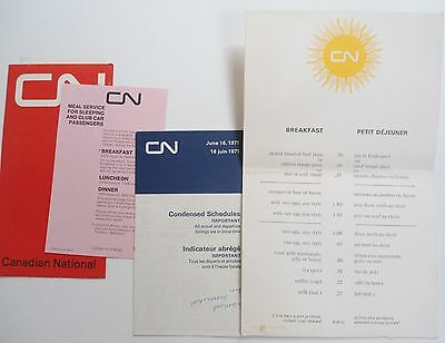 VINTAGE 70s TRAIN TRAVEL CANADIAN NATIONAL RAILWAYS/TICKET/MENU/WRITING PAPERS..