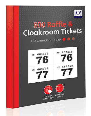 1 - 800 RAFFLE AND CLOAKROOM TICKETS (Book Colour Numbere Tombola Draw Lottery)