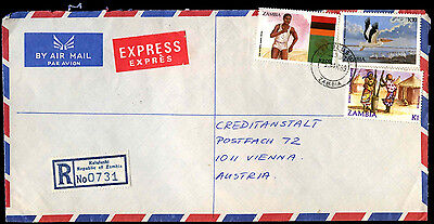 Zambia 1989 Registered Airmail Commercial Cover To Austria #C38935