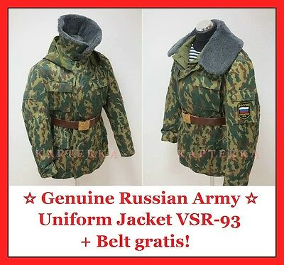 Genuine Russian Army Winter Uniform Jacket VSR-93 Barvikha Vertikalka Camo+Belt