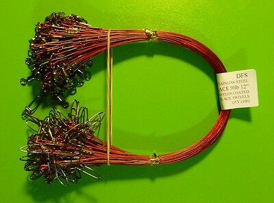 """100 DFS 316 STAINLESS STEEL WIRE TRACE RED 12"""" 50LB fishing tackle"""