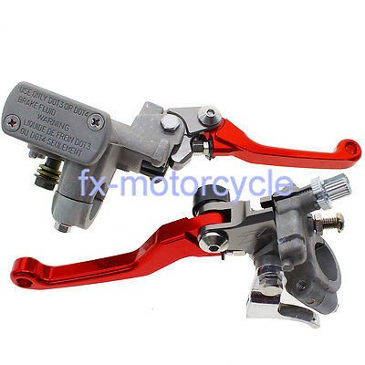 "CNC 7/8"" Master Cylinder Front Brake Clutch Levers For Honda CRF450R 02-2012 Red"