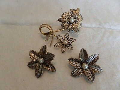 Vintage Gold Tone and Black Flower Brooch and Clip Earrings