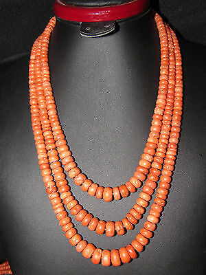 Beautiful 145g necklace Antique Old Undyed beads Natural Coral