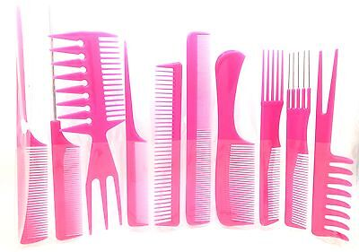 10 Pieces High Quality Professional Comb Set Hairdressing Brush Barbers Pink