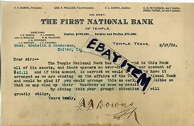 1906 Letterhead FIRST NATIONAL BANK Temple Texas DOWNS Willcox HUTCHISON Paton