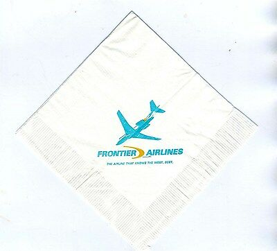 Frontier  Airlines Unused Cocktail  Napkin The Airline That Knows The West Best