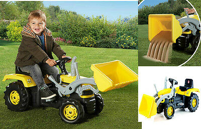 Dolu Yellow Kids Pedal Farm Tractor Digger Age 3+ Childrens Ride On Toy