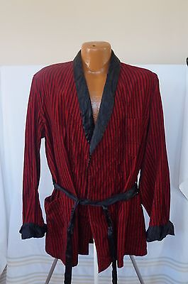 Vintage 50s 60s State o Maine Red Striped Velvet and Silk Robe / Smoking Jacket