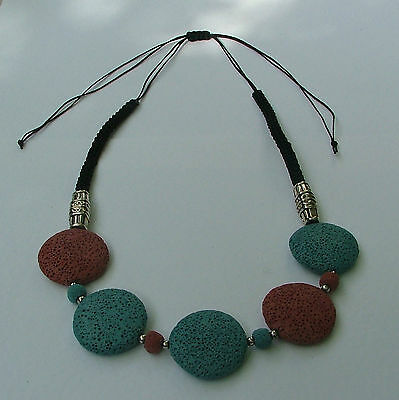 Blue And Brown Dyed Volcanic Lava Stone Discs Silver Pl And Cord Necklace