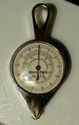 Vintage Opisometer Map Measuring Tool America Map Co w/ Orig Case & Directions