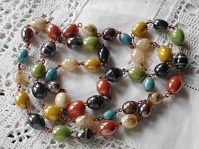 Beautiful Vintage1960s Colourful Venetian Glass Bead Necklace