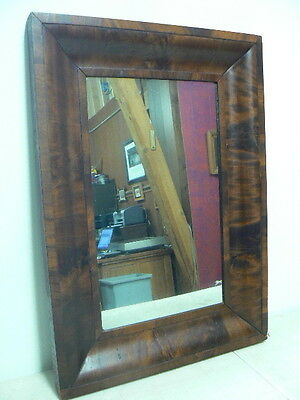 Antique Crotch Mahogany American Empire Ogee Mirror Picture Frame, 20x28x2, NICE