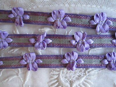 Vintage  French Purple, Lavender And Green Rococo Ribbon Trim 1 Yard