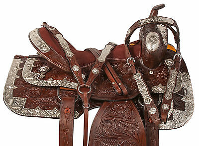 16 17 Beautiful Western Show Parade Silver Horse Leather Saddle Tack Set Carved