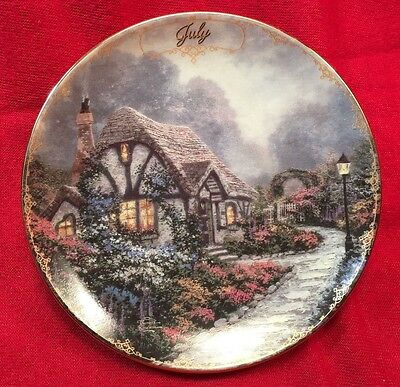 Thomas Kinkade 1998 July Perpetual Calendar Plate Chandler's Cottage
