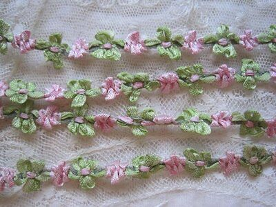 Vintage French Special Tiny Pink And Green Rococo Ribbon Trim 1 Yard