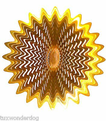 "Wind Spinner - Gold Color - Outdoor or Indoor  - Stainless Steel - 12"" Diameter"