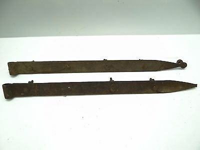 Antique Old Metal Wrought Iron Large Barn Door Straps Stamped Nanty Glo No 2 PA