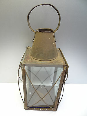 Antique Old Clear Glass Metal Unbranded X Guard Candle Hand Walking Lantern Lamp