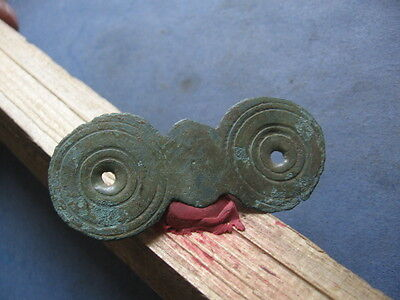 LARGE BRONZE AGE COSMIC AMULET WITH CIRCLES 64 mm.