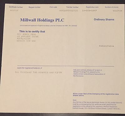 1997 Millwall Holdings PLC - football club share certificate