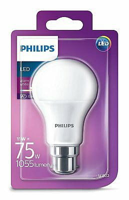1x Philips LED Frosted B22 75w Warm White Bayonet Cap Light Bulb Lamp 1055Lm