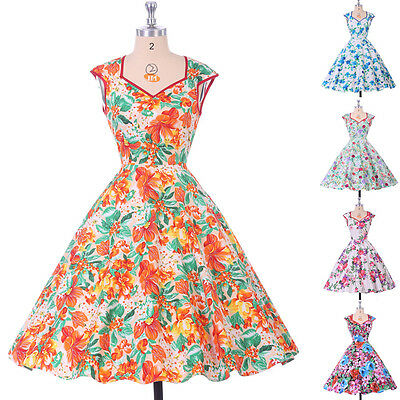 Vintage Retro Style 50s 60s Floral Causal Evening Party TEA Dresses Swing Pinup