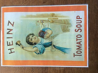 Vintage Laminated Advertising Poster Heinz Tomato Soup girl with Bell Advert