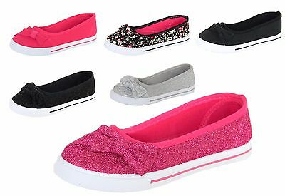 New Girls Canvas Shoes Flats Loafers Ballet Slip On Sneakers Kids Youth Casual