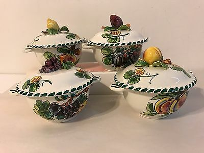 Vintage Italian Fruit Bowls With Lids Set Of 4 Colorful Hand Painted Fruit Italy