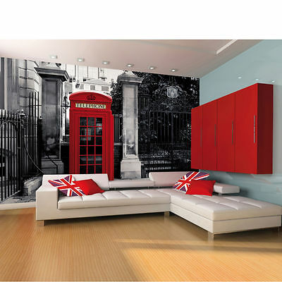 Red British Telephone Box on a Black and White Backdrop Wall Mural - New