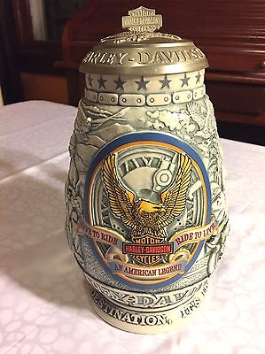 New No Box 2000 Harley Davidson Live To Ride Lidded Beer Stein