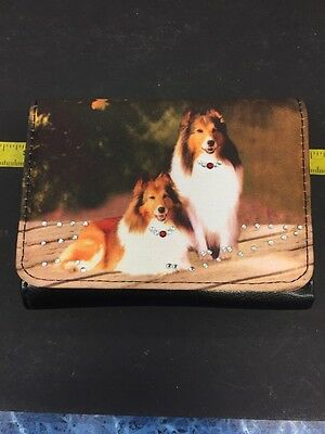 Trifold wallet with collie dogs *New*