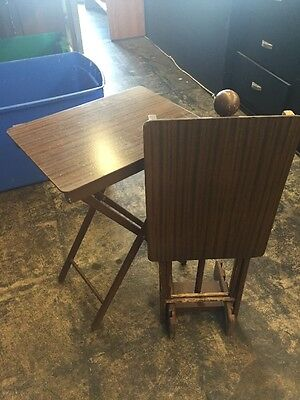 Vintage Set Of 2 Wood Folding Tv Tray Tables W Stand Mid Century Modern