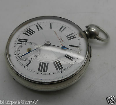 Antique Keywind Open Faced Silver Lever  Expressly Examined Pocket Watch c-1880s