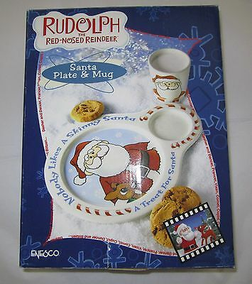 Enesco Rudolph and the Island of Misfit Toys Santa Cookie Plate and Milk Mug NEW