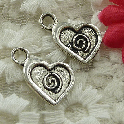 free ship 70 pieces Antique silver heart charms 21x14mm #2623