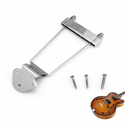 6 String Chrome Guitar Tailpiece Trapeze Open Frame Bridge For Archtop Guitar