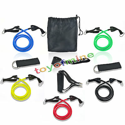 11pc/Set Gym Sport Fitness Resistance Exercise Bands Yoga Abs Latex Workout