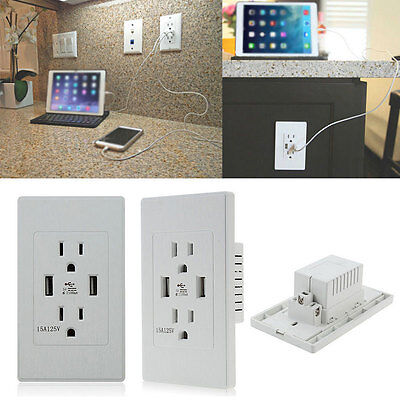 Dual USB Port Wall Socket Charger AC Power Receptacle Outlet Plate Home Tools